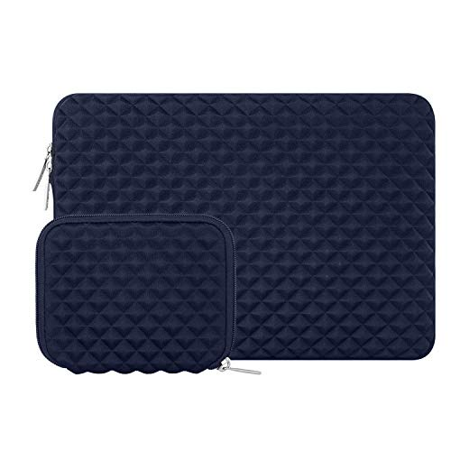 MOSISO Schutzhülle Kompatibel mit MacBook Pro 16 Zoll Touch Bar A2141 2020 2019, 15-15,6 Zoll MacBook Pro Retina 2012-2015, Diamant-Muster Neopren Laptoptasche mit Klein Fall, Navy Blau