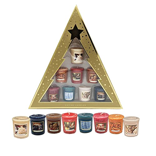8 Pack Scented Votive Candles Christmas Tree Gift Box Set Men's / Women's Festive Gifts