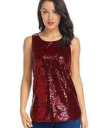 Wine Red Sleeveless Camisole Vest Sequin Tank Tops