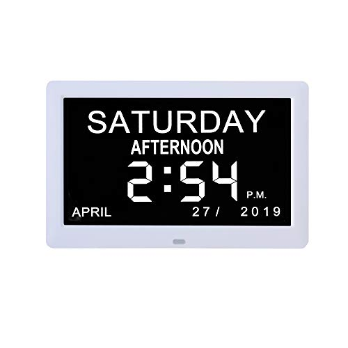 Digital Day Calendar Clocks 3 Medication Reminders, Auto-Dimming Extra Large Non-Abbreviated Day Date & Month Dementia Clock for Senior Elderly...
