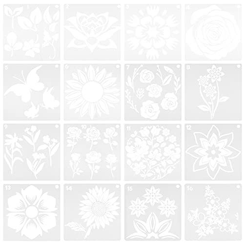 HEALLILY Plantilla de 16 Piezas de Girasol Reutilizable Plantilla de Dibujo de Flores Plantilla de Arte Decorativo para DIY Pintura en Vidrio de Madera Y Lienzo