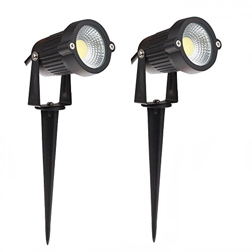 LemonBest High Power Outdoor Decorative Lamp Lighting 5W COB LED Landscape Garden Wall Yard Path Light Warm Cool White DC 12V w/Spiked Stand, Pack of 2 (Cool White)
