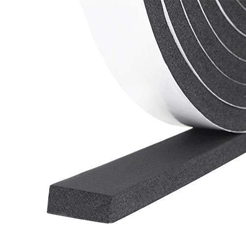 Foam Insulation Tape self Adhesive,Weather Stripping for Doors and Windows,Sound Proof soundproofing Door Seal,Weatherstrip,Pipe Cooling, Air Conditioning Seal Strip (W:1In xT: 2/5In XL: 16Ft)