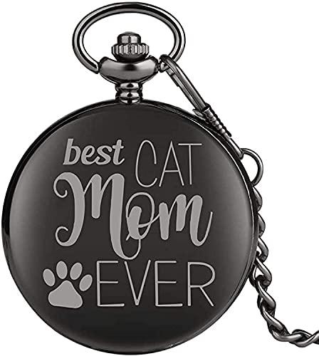 HGDH Cadena de Reloj de Bolsillo BEJOS Best Cat MOM Mome Toda LA Serie Reloj de Bolsillo para niños Relojes de Bolsillo de Cuarzo Medio clásico para Mujer para Hombres Mujeres Regalo