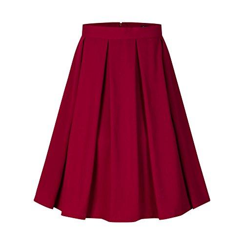 Beauty7 Damen Elegant A-Linie Midirock Knielang Rock mit Taschen Audrey Hepburn Rockabilly Stil Faltenrock Hohe Taille Glockenrock Casual Skirt Party - Farbe: Weinrot - Größe: EU 38