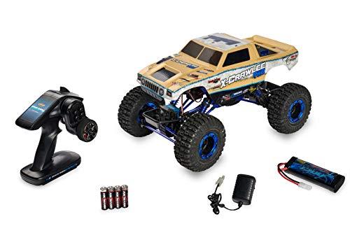Carson 500404067 X-Crawle Pro 1:10-Chenille XL RC Robuste, 4x4, essieux pivotants, amortisseurs à Pression d'huile réglables en Aluminium, idéal pour Les débutants, 100% RTR, Couleur Sable