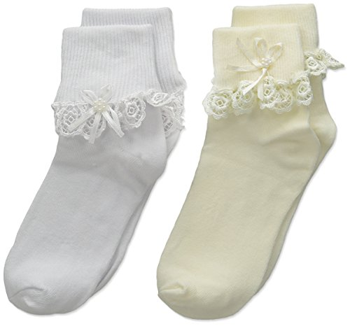 Price comparison product image Country Kids Girls' Little Venice Lace Streamer 2 Pair Pack,  White / Pearl,  7-10 Years (Sock Size 8-9 / Shoe Size 12-6)