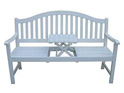 3 Sittzer Gartenbank mit Tisch, weiß lackiert