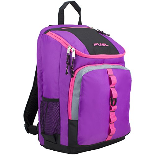 Fuel Top Load Sport Backpack with Side Tech Compartment and Ergonomic Padded Mesh Breathable Back, Grape Sizzle/Pink Trim