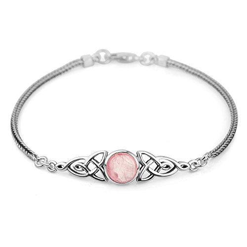 Chuvora Women's 925 Sterling Silver Genuine Amber Gemstone Celtic Triskele Trinity Knot Bracelet 8'