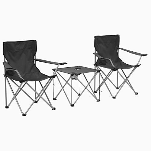 vidaXL Campingtafel en -Stoelenset Grijs 3-delig Kampeermeubel Camping Set