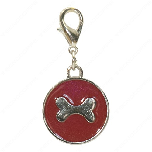 Technocoppe medaillon met gravure van verchroomd metaal en rode nagellak met charmhaak