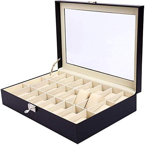NKDbax Caja de reloj Caja de relojes Caja de organizador de almacenamiento de exhibición de joyería con tapa de vidrio con cerradura de llave