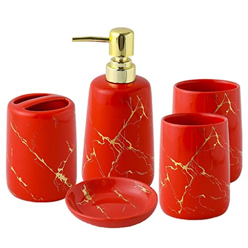 Dongxiao Juego de 5 piezas de accesorios de baño con bomba de jabón, para familia, hotel, oficina, baño, incluye dispensador de jabón, taza de enjuague bucal, color rojo para mantener la salud