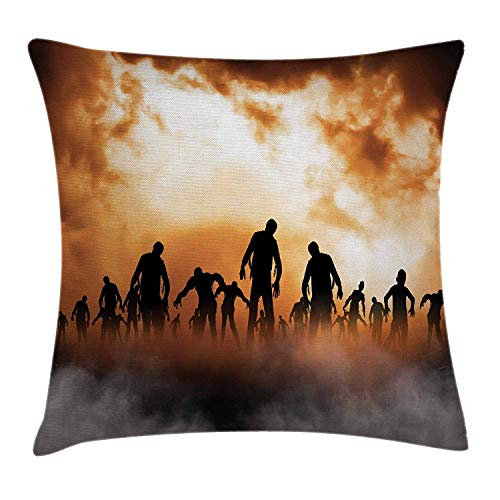 "LXJ-CQ Halloween Dekokissen Kissenbezug, Zombies Dead Men Walking Körper im Untergang Nebel am Nachthimmel Haunted Theme Print 18\""X 18\"", Orange Schwarz"