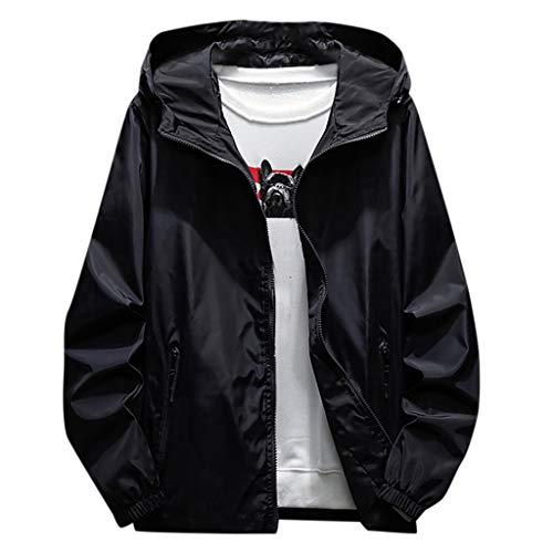 Uqiangy Men's Casual Solid Plus Size Waterproof Hoodie Zipper Rain Coat Jacket Windbreaker(Black,XXXXL)
