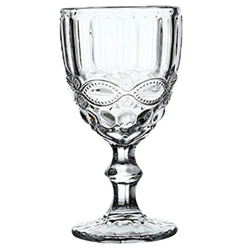 Wijnglas Bekers Retro Vintage Relief Rode Wijn Cup 240ml Graveren Embossment Juice Drinkglazen Champagne Verschillende Goblets 240ml Bloem Transparant