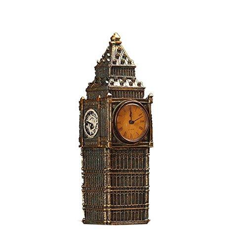 Horloge Bureau, Rétro Mode Big Ben Artisanat Décoration L'Horloge,DXNSPF Chambre Restaurant Bar Horloge De Bureau, 11.8*3.5 Pouces , Bronze