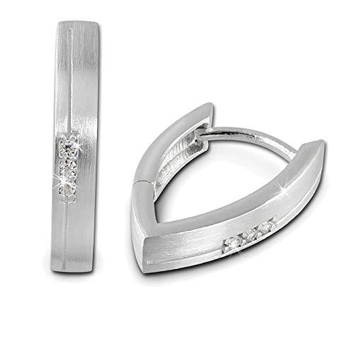 SilberDream Ohrringe für Damen 925 Silber Creolen Zirkonia weiß SDO378W