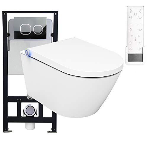 WC-Komplettpaket 16: Bernstein Dusch-WC Pro + und Soft-Close Sitz mit Vorwandelement G3004A und Betätigungsplatte vorne, Betätigungsplatte:Modell weiß Glas