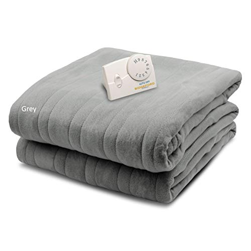 Biddeford Blankets Comfort Knit Electric Heated Blanket with Analog Controller, Twin, Grey