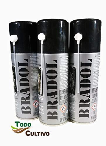 BRADOL Cadenas 400 ml. Pack 3 unidades. Lubricante para cadenas de motos y bicicletas. Spray transparente fluido especial para cadenas con retenes.