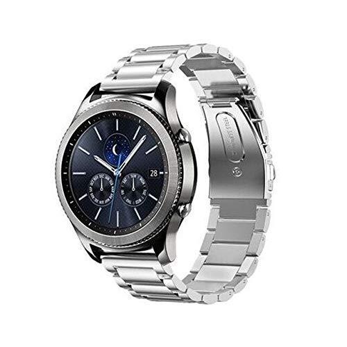 Gear S3 Frontier Correa compatible con Galaxy Watch de 46 mm, correa GT de 2 mm, compatible con Galaxy Watch Active Correa de repuesto (color plateado)