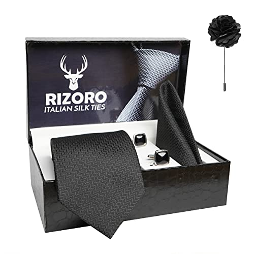 Rizoro Mens Plaid Micro Self Silk Necktie Gift Set With Pocket Square Cufflinks & Brooch Pin Formal Tie With Leatherite Box (SIDIRX Free Size)