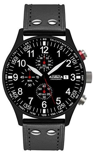Astroavia Reloj de pulsera para hombre con cronógrafo, cuarzo, correa de piel N57 Black L8