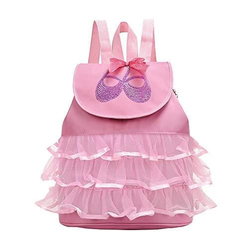 Bolsa de Baile para Niñas - Belegao Kids Ballet de Gimnasia Personalizado Bolsa Deportiva Bolsa de Almacenamiento de Calzado de Baile Mochila Ajustable para Niños Regalo de Cumpleaños Rosa