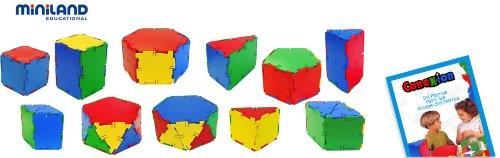 Miniland - Conexion: Set prismas, 84 Piezas en Bote con asa (32123)
