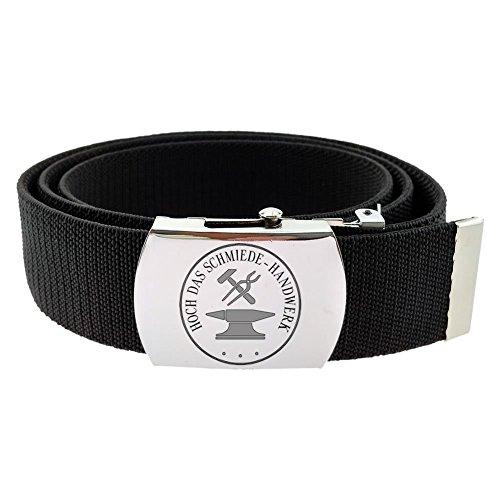 Gravurmanufaktur Hosengürtel Schmied Handwerk und Zunftzeichen - Textilgürtel 4cm schwarz - Länge 120 cm - kürzbar