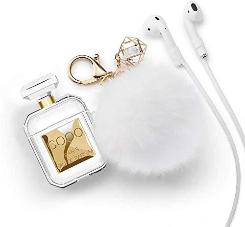 Funda con forma de botella de perfume para Airpods con correa antipérdida, juego de llavero de pompón, accesorios para auriculares para Apple Airpods