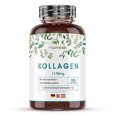 Kollagen Kapseln - 120 Kapseln - 1170mg NatiCol Kollagen-Hydrolysat Typ1 - Laborgeprüft in Deutschland bei Agrolab - Kollagen Protein Pulver in jeder Kapsel - Pure Marine Collagen - Von Maxmedix