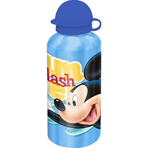Kids Euroswan WD17005 Cantimplora 500 ml, Estampado Mickey Mouse, Aluminio, Multicolor, 15x10x5 cm