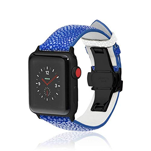fitjewels for Apple Watch Band 42/44mm - Stingray - Blue/White - Black Adapter Clasp- Leather iwatch Strap Replacement Band with Butterfly Clasp for Apple Watch Series 5 Series 4/3/2/1