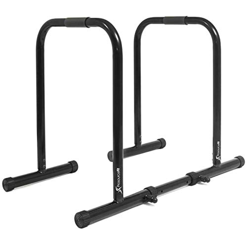 ProsourceFit Dip Stand Station, Ultimate Heavy Duty Body Bar Press with Safety Connector for Tricep Dips, Pull-Ups, Push-Ups, L-Sits, Black