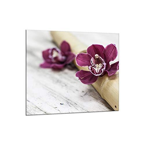 decorwelt | Küchenrückwand Spritzschutz aus Glas 65x60 cm Wandschutz Herd Spüle Küchenspritzschutz Fliesenschutz Fliesenspiegel Küche Dekoglas Orchidee Violett