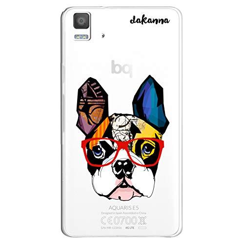 dakanna Funda para [ Bq Aquaris E5 4G - E5S ] de Silicona Flexible, Dibujo Diseño [ Bulldog Frances con Gafas Estilo Comic ], Color [Fondo Transparente] Carcasa Case Cover de Gel TPU, Smartphone