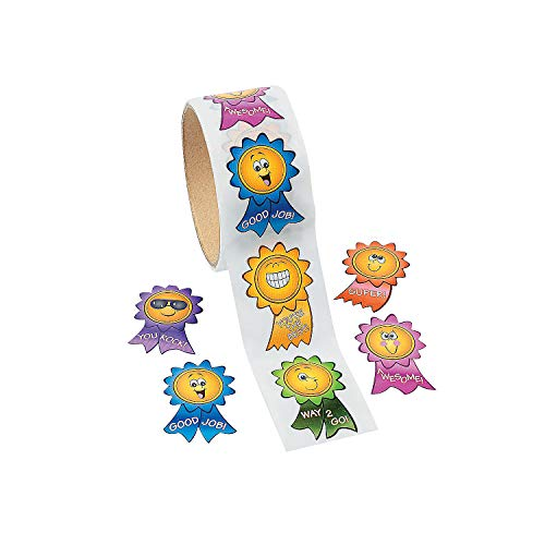 Fun Express Motivational Smiley Face Stickers - 1 Piece - Educational and Learning Activities for Kids
