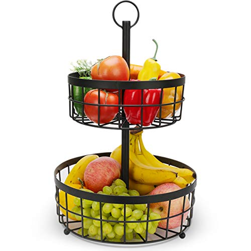 Countertop Fruit Basket Stand, 2 Tier Fruit Bread Basket Stand Fruit Basket Bowl Storage for Storing & Organizing Vegetables, Eggs, etc | Fruit Basket for Counter or Hanging