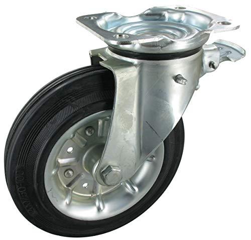 Rueda para contenedor de basura, rueda giratoria con bloqueo, rueda de 200 mm, goma