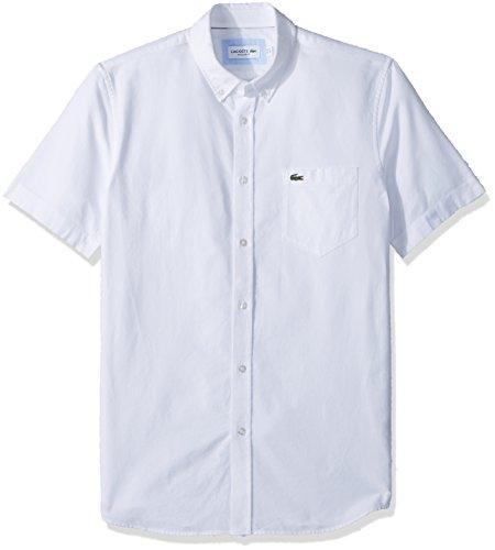 Lacoste Mens Short Sleeve Oxford Button Down Collar Regular Fit Woven Shirt Button Down Shirt, White