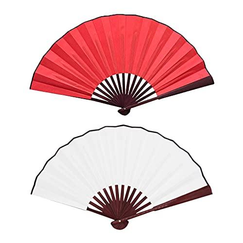 Sheey Ventilador de Mano Plegable de Verano, Abanico Plegable Decorativo Retro, Ventilador de Mano Plegable (60CM, 2PC(Rojo+Blanco))