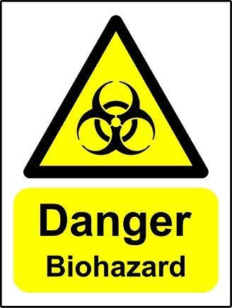 Señales de advertencia de peligro de riesgo biológico, pegatinas de advertencia, etiquetas adhesivas, vinilo autoadhesivo, advertencia de seguridad, calcomanías de advertencia, 20 x 15 cm