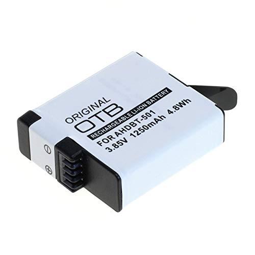 OTB Batería compatible con AABAT-001 / AHDBT-501 para GoPro Hero7 Black | GoPro Hero6 Black | GoPro Hero5 Black | GoPro Hero 2018 [Batería de ion de litio 1250 mAH]