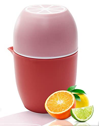 Exprimidor de limón, exprimidor manual único, exprimidor de naranjas, exprimidor de limones con dos opciones de exprimidor, exprimidor de fruta para limones, limas, manzanas, naranja, pomruit (rosa)
