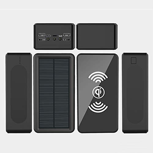 PIANAI Cargador de energía solar/60000mAh Solar Power Bank/Power Bank Portátil/Elegante batería Externa/Power Bank Solar Carga Rápida/Ultra Capacidad Cargador Portátil Móvil,Negro,60000 mAh