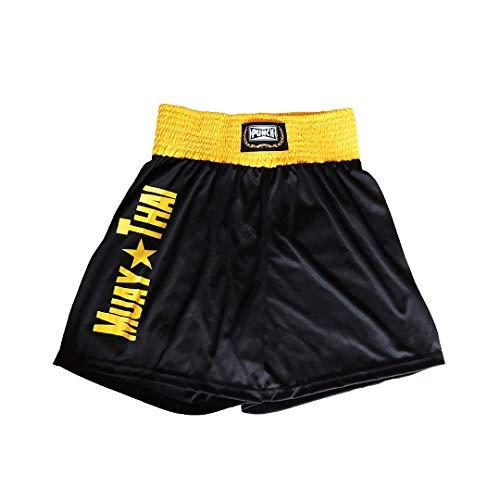 Shorts Muay Thai Com Silk Port. - Médio Punch Unissex M Preto Com Amarelo