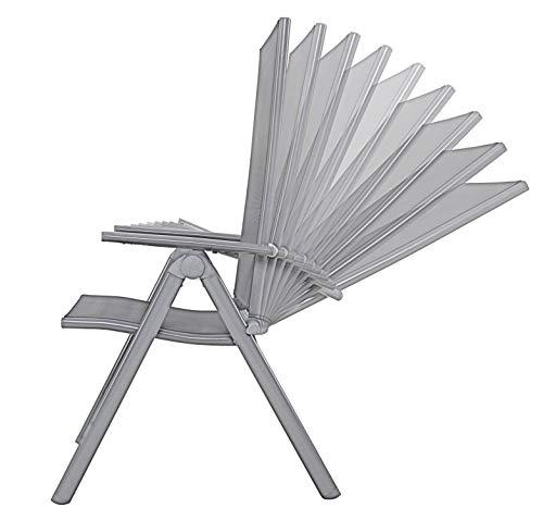 Chicreat Gartenstühle Esszimmerstühle, 4er-Set, Silber/Schwarz, Aluminium/Textilbezug